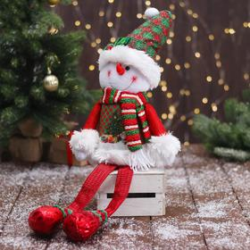 """Мягкая игрушка """"Снеговик в новогоднем костюме - длинные ножки"""" 12х62 см"""