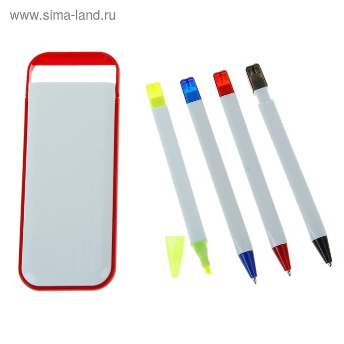 Набор в пластик футляре белый с красным кантом: ручки шариковые 2шт, маркер, карандаш