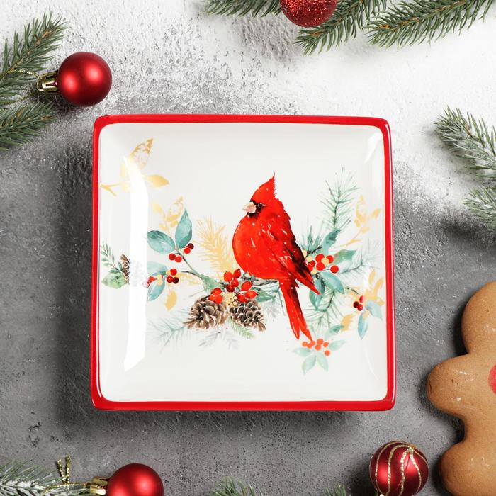 Блюдо сервировочное Доляна «Красный кардинал», 15×3 см