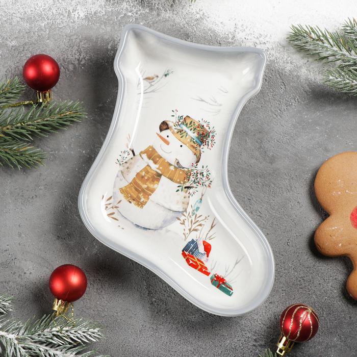 Блюдо сервировочное Доляна «Рождественский снеговик», 20×15,5×3 см