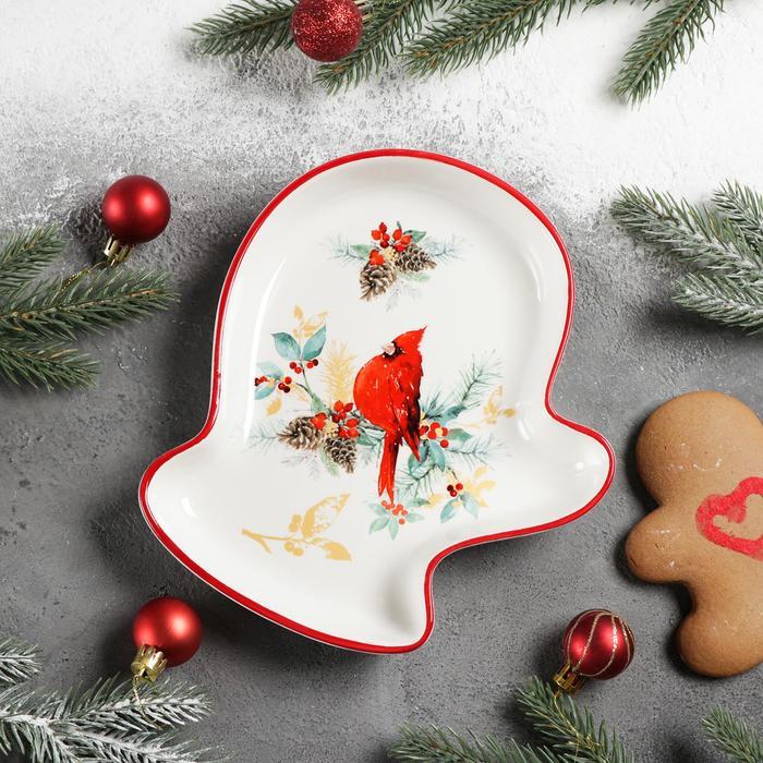 Блюдо сервировочное Доляна «Красный кардинал», 20×18×3 см