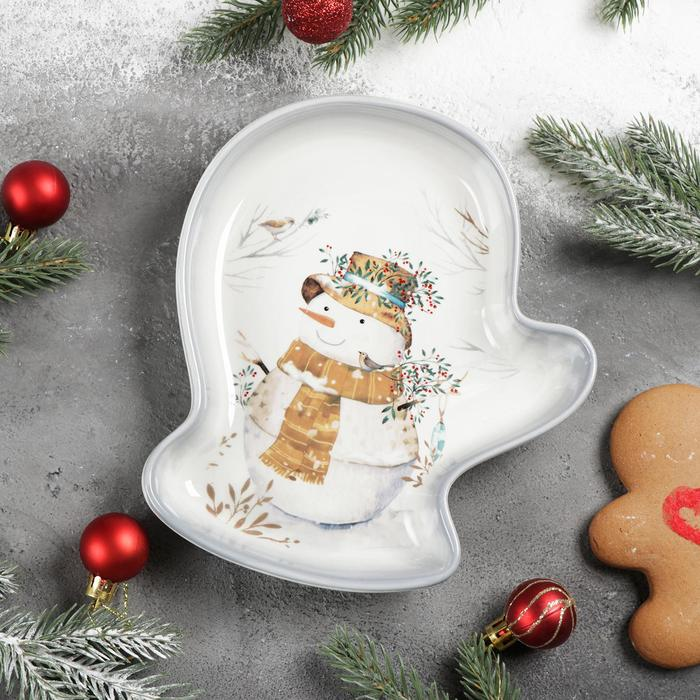 Блюдо сервировочное Доляна «Рождественский снеговик», 20×18×3 см