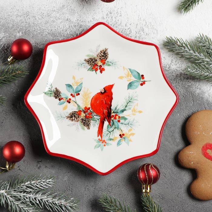 Блюдо сервировочное Доляна «Красный кардинал», 20×2,3 см
