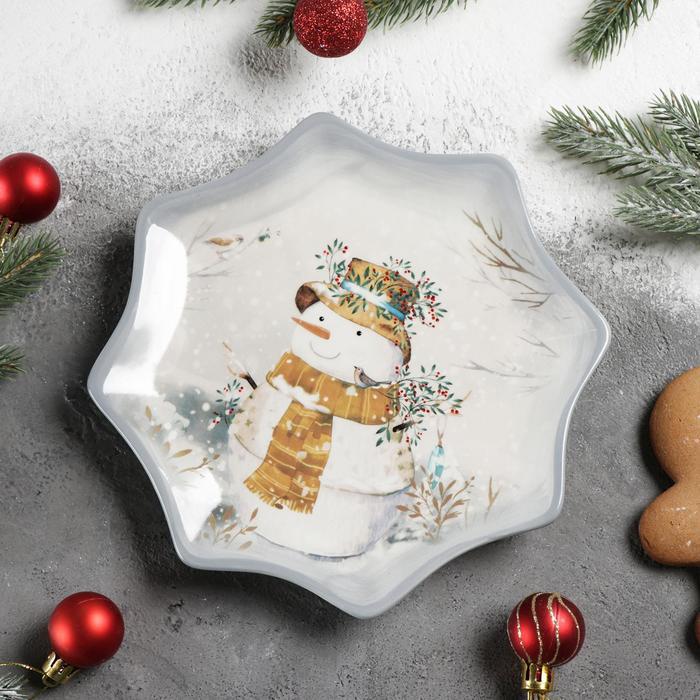 Блюдо сервировочное Доляна «Рождественский снеговик», 20×2,3 см