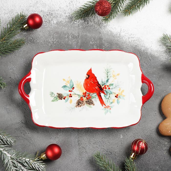 Блюдо сервировочное Доляна «Красный кардинал», 23,5×14×4 см