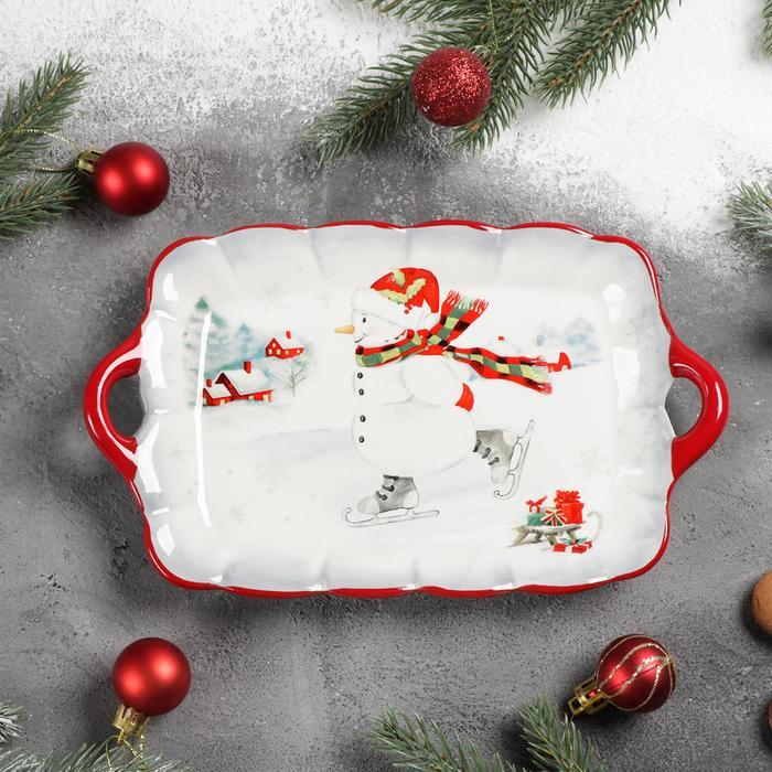 Блюдо сервировочное Доляна «Снеговик», 23,5×14×4 см