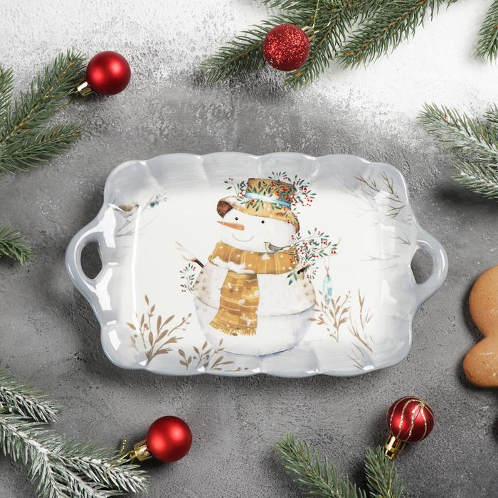 Блюдо сервировочное Доляна «Рождественский снеговик», 23,5×14×4 см