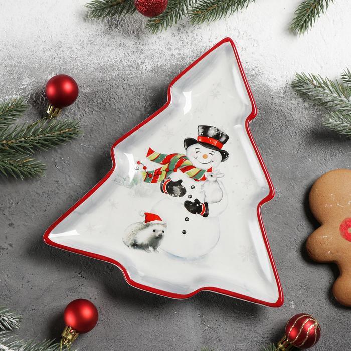 Блюдо сервировочное Доляна «Снеговик со зверятами», 23×20×2,2 см