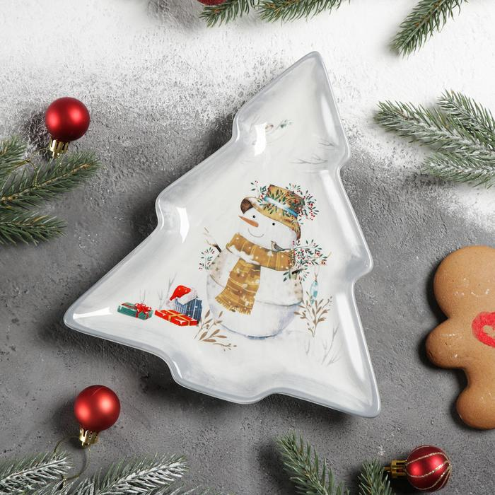 Блюдо сервировочное Доляна «Рождественский снеговик», 23×20×2,2 см