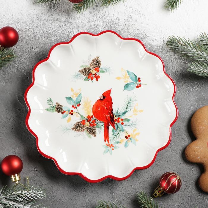 Блюдо сервировочное Доляна «Красный кардинал», 20×20×2,5 см