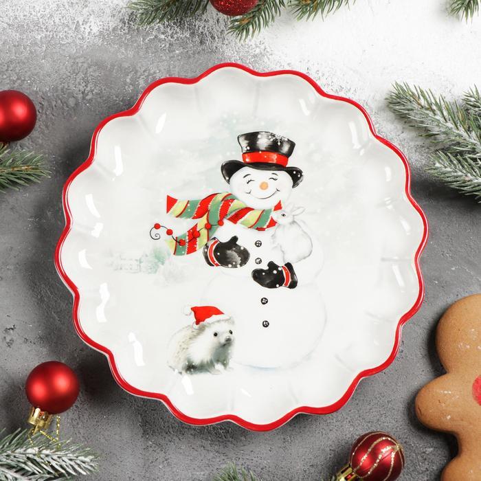 Блюдо сервировочное Доляна «Снеговик со зверятами», 20×20×2,5 см