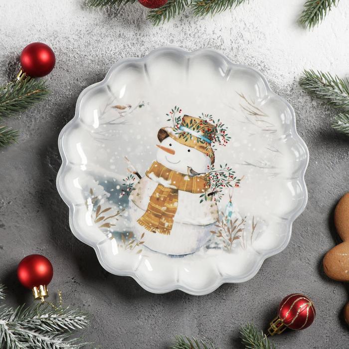 Блюдо сервировочное Доляна «Рождественский снеговик», 20×20×2,5 см