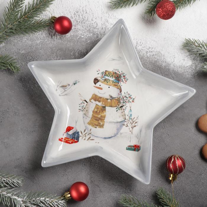 Блюдо сервировочное Доляна «Рождественский снеговик», 25×23,5×3,3 см
