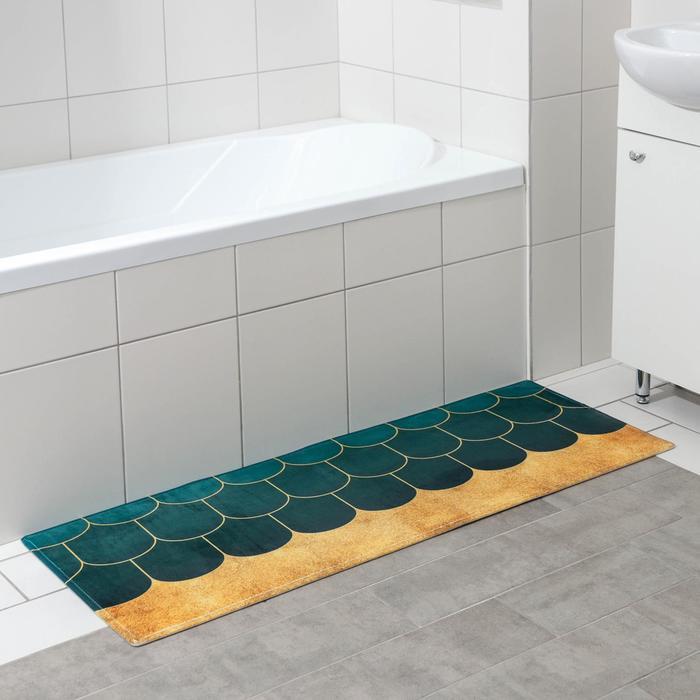 Коврик Доляна «Дели», 45×120 см, цвет зелёный