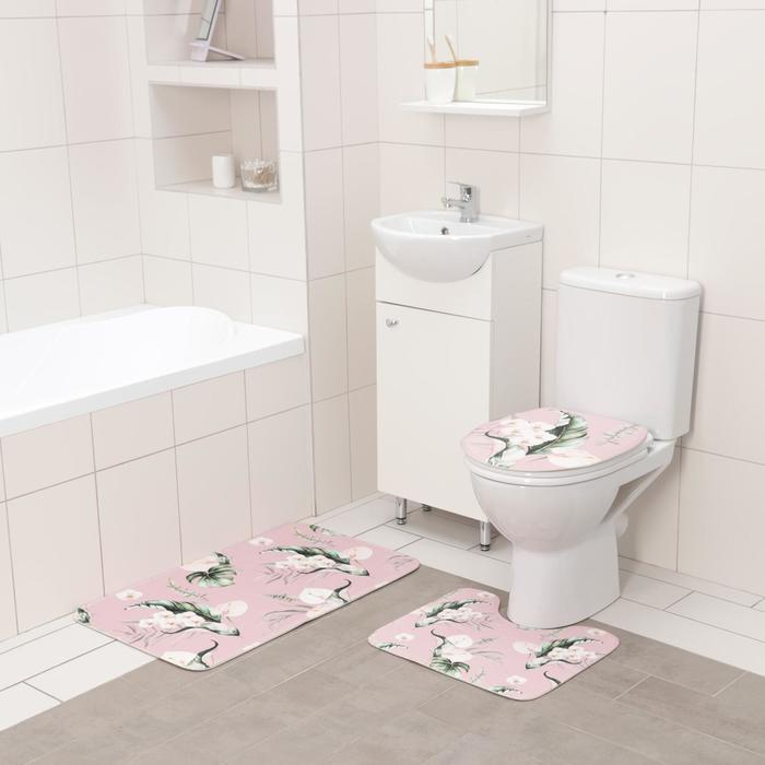 Набор ковриков для ванны и туалета Доляна «Фло», 3 шт: 50×80 см, 50×40 см, 38×43 см