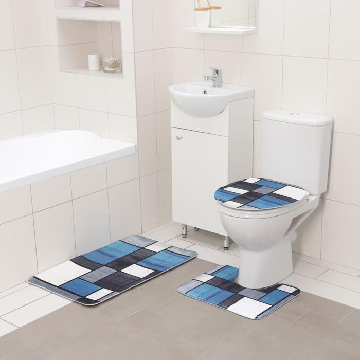 Набор ковриков для ванны и туалета Доляна «Палитра», 3 шт: 50×80 см, 50×40 см, 31×43 см