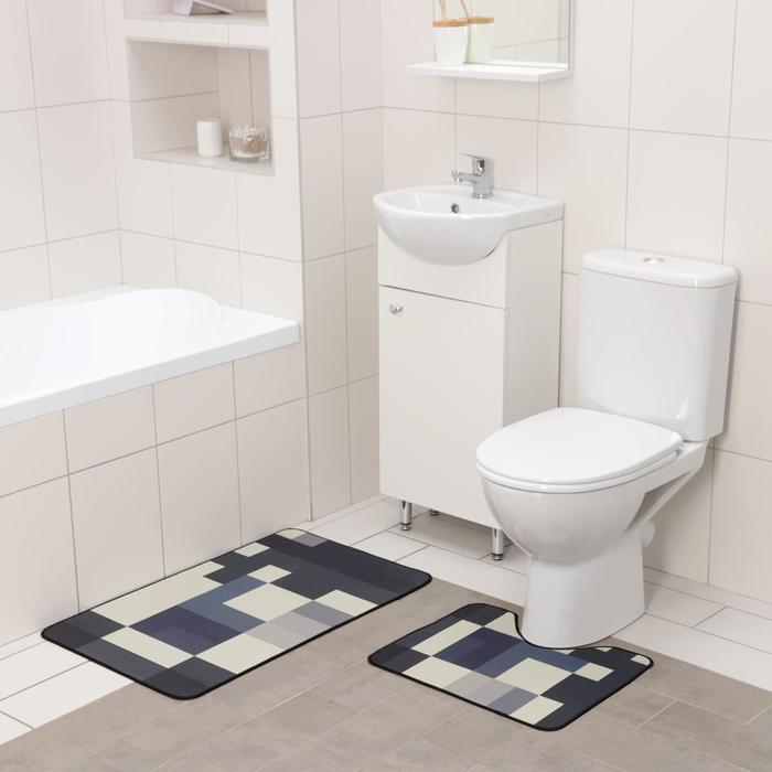 Набор ковриков для ванны и туалета Доляна «Палитра», 2 шт: 50×80 см, 50×40 см