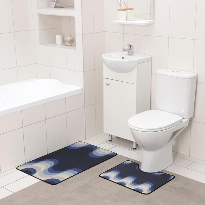 Набор ковриков для ванны и туалета Доляна «Иллюзия», 2 шт: 50×80 см, 50×40 см
