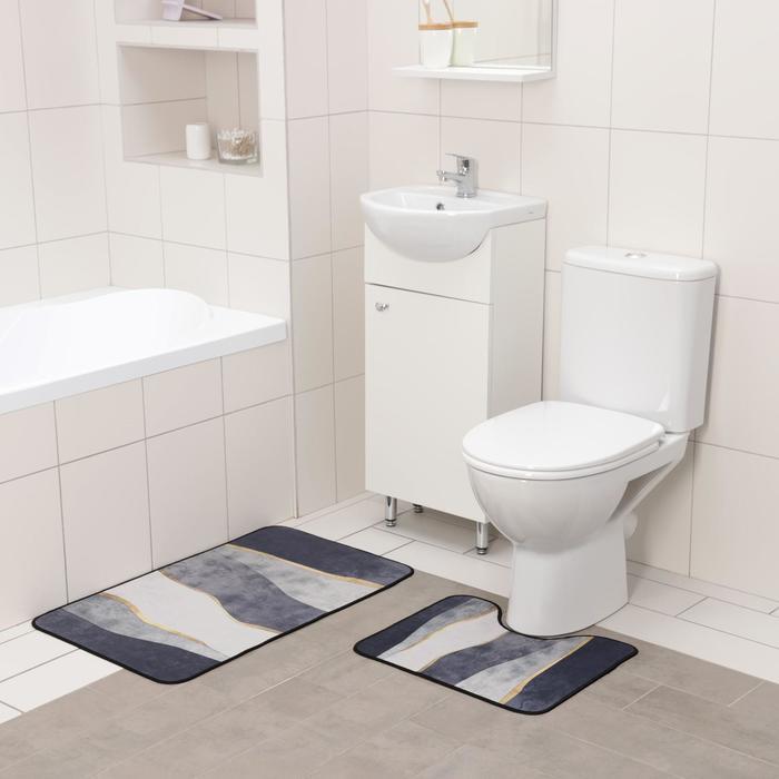 Набор ковриков для ванны и туалета Доляна «Вега», 2 шт: 50×80 см, 50×40 см