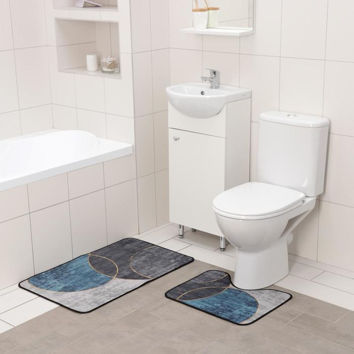 Набор ковриков для ванны и туалета Доляна «Мени», 2 шт: 50×80 см, 50×40 см