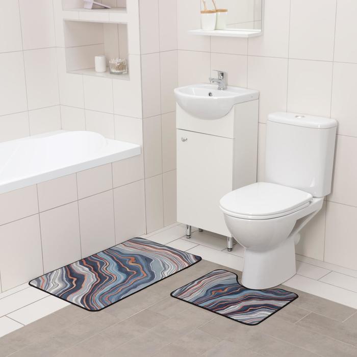 Набор ковриков для ванны и туалета Доляна «Каменная лагуна», 2 шт: 50×80 см, 50×40 см