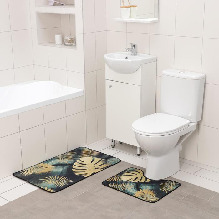 Набор ковриков для ванны и туалета Доляна «Тропический лес», 2 шт: 50×80 см, 50×40 см