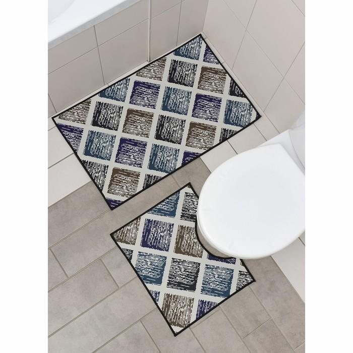 Набор ковриков для ванны и туалета Доляна «Цветное полотно», 2 шт: 50×80 см, 40×50 см