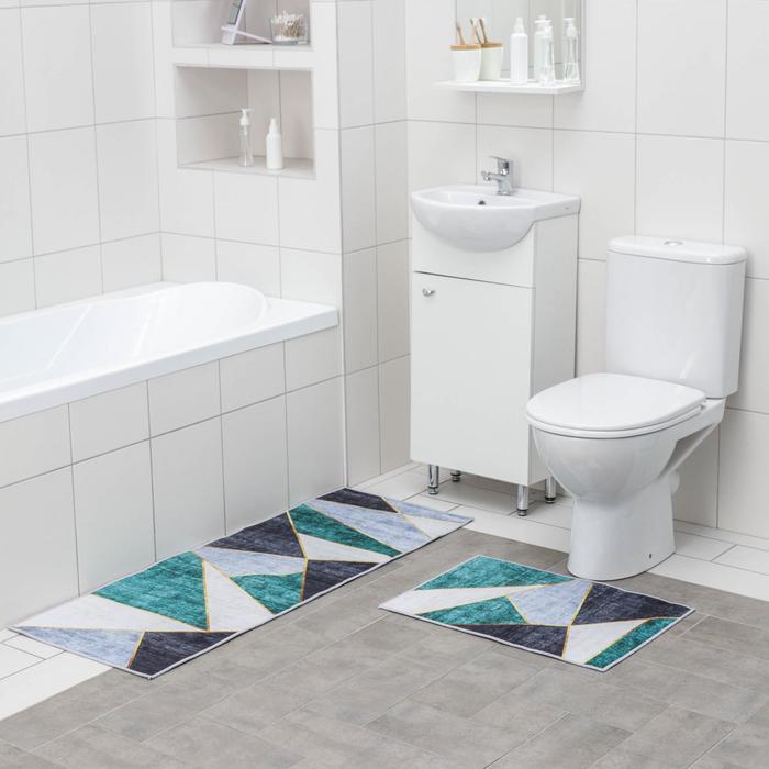Набор ковриков для ванны и туалета Доляна «Геометрик», 2 шт: 45×120 см, 40×60 см, цвет зелёно-серый