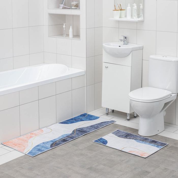 Набор ковриков для ванны и туалета Доляна «Образ», 2 шт: 45×120 см, 40×60 см, цвет сине-серый