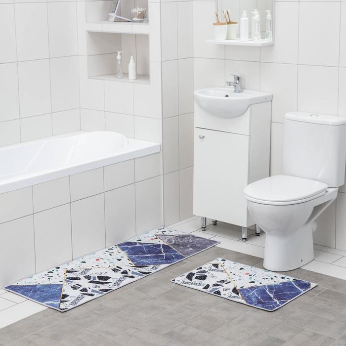 Набор ковриков для ванны и туалета Доляна «Камень», 2 шт: 45×120 см, 40×60 см