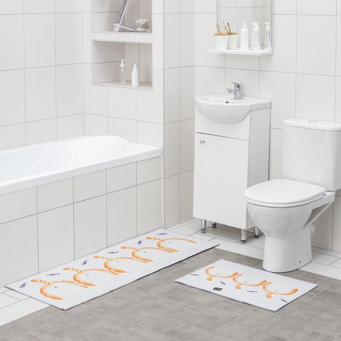 Набор ковриков для ванны и туалета Доляна «Хвостик», 2 шт: 45×120 см, 40×60 см