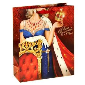 Пакет ламинированный вертикальный (стразы) «Ваше величество», MS 18 × 23 × 8 см