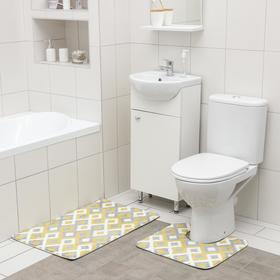 Набор ковриков для ванной и туалета SAVANNA «Роиз», 2 шт: 50×80 см, 40×50 см