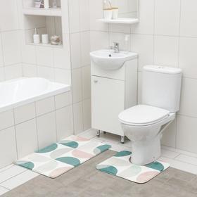 Набор ковриков для ванной и туалета SAVANNA «Ментол», 2 шт: 50×80 см, 40×50 см