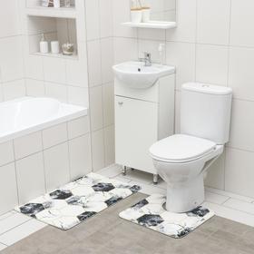 Набор ковриков для ванной и туалета SAVANNA «Мраморные грани», 2 шт: 50×80 см, 40×50 см
