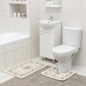 Набор ковриков для ванной и туалета SAVANNA «Розалия», 2 шт: 50×80 см, 40×50 см