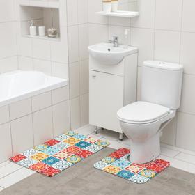 Набор ковриков для ванной и туалета SAVANNA «Мозаика», 2 шт: 50×80 см, 40×50 см
