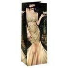 Пакет ламинат вертикальный под бутылку с блёстками «Ты восхищаешь»,13 х 36 см