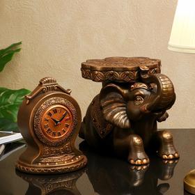 """Часы """"Слон"""", на подставке, коричнево-золотистые, 50*41 см"""