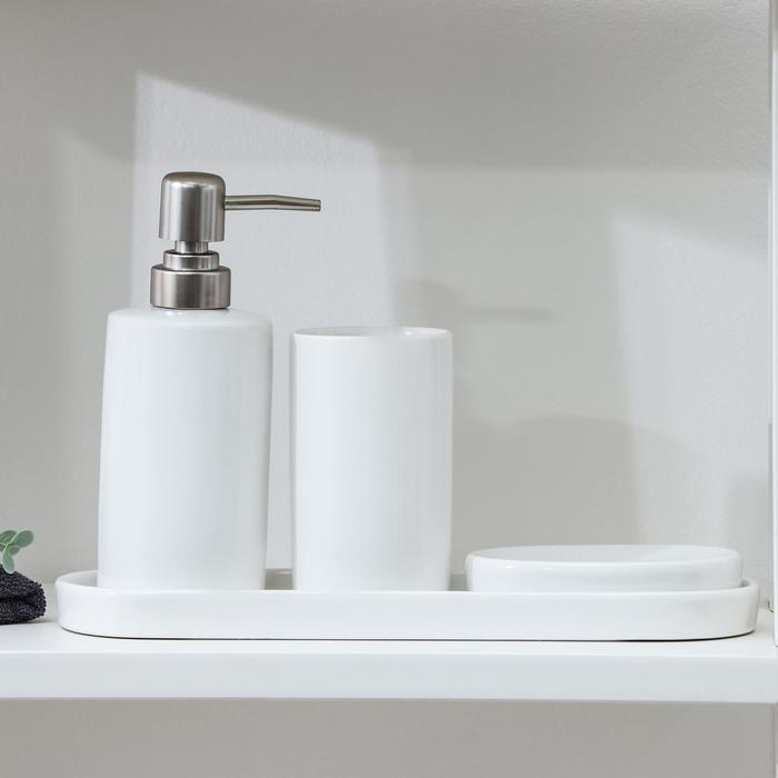 Набор для ванной «Гармония», 4 предмета (мыльница, дозатор для мыла, стакан, подставка)