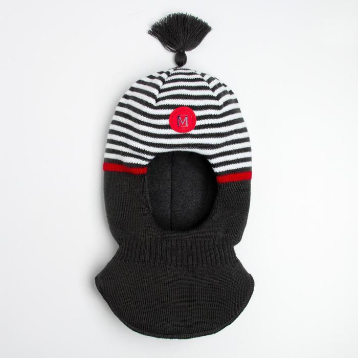 Шлем-капор для мальчика, цвет графит, размер 52-54 - фото 106991012