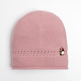 Шапка для девочки, цвет тёмно-розовый, размер 44-46