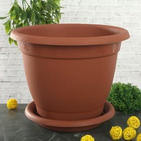 """Горшок для цветов с поддоном 7,8 л, d=29 см """"Борнео"""", цвет терракотовый"""