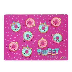 """Накладка на стол пластиковая А4, 339 х 244 мм (+/- 5 мм), 500 мкм, для девочки """"Модные пончики"""""""