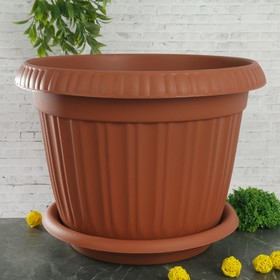 """Горшок для цветов с поддоном 24,6 л, d=42 см """"Таити"""", цвет терракотовый"""