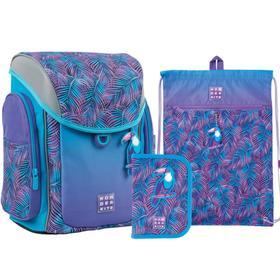 Ранец на замке Kite 583, 34 х 28 х 17, для девочки, с наполнением: мешок, пенал, Tropic, фиолетовый/бирюзовый