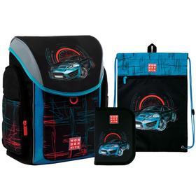 Ранец на замке Kite 583, 34 х 28 х 17, для мальчика, с наполнением: мешок, пенал Racing, чёрный/голубой
