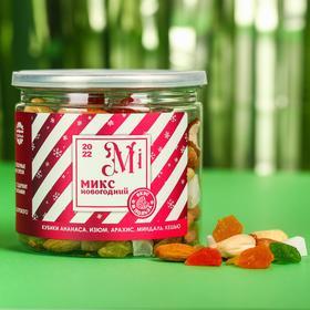 Новогодний микс орехов «Элемент: Mi»: клубника, ананас, изюм, арахис, миндаль, кешью, 200 г.