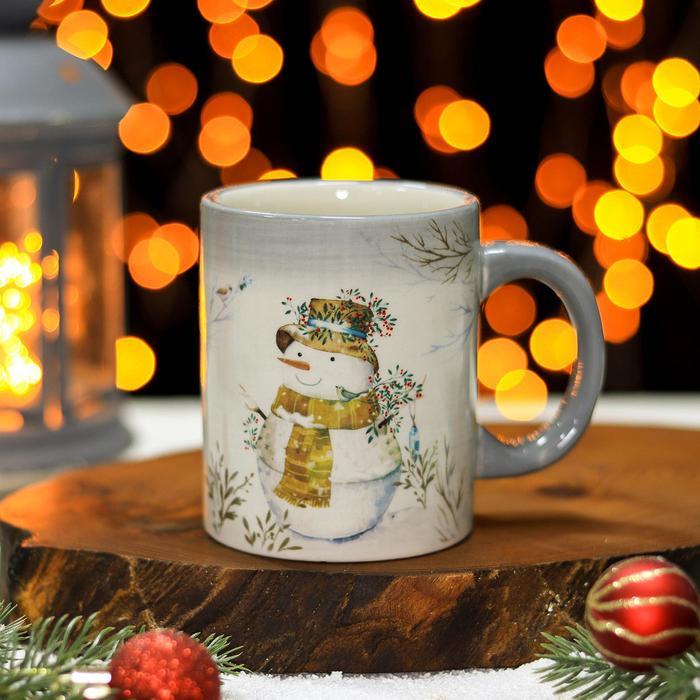 Кружка Доляна «Рождественский снеговик», 300 мл, 11×8×9,5 см