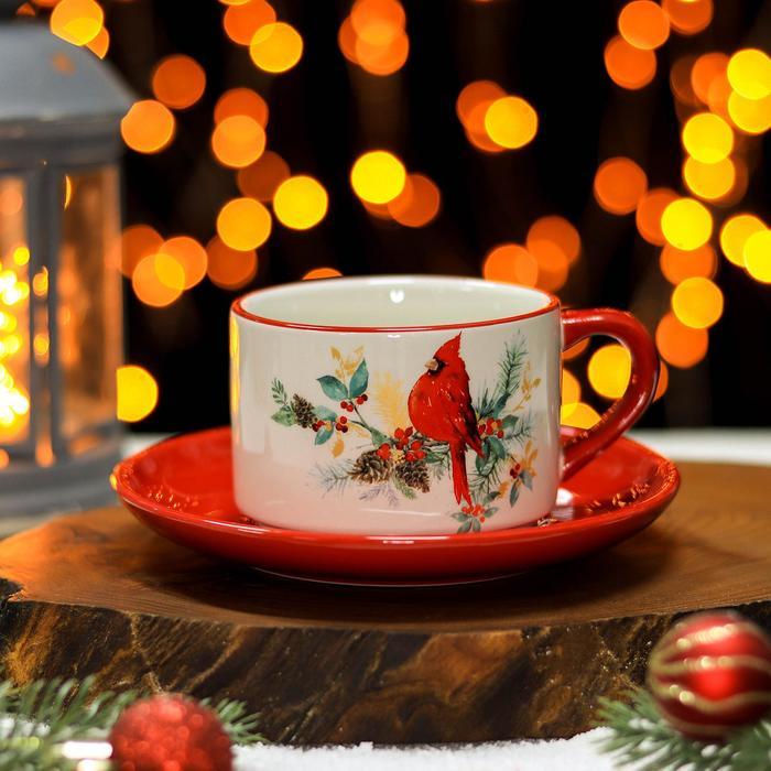 Чайная пара Доляна «Красный кардинал», чашка 210 мл, блюдце d=15 см